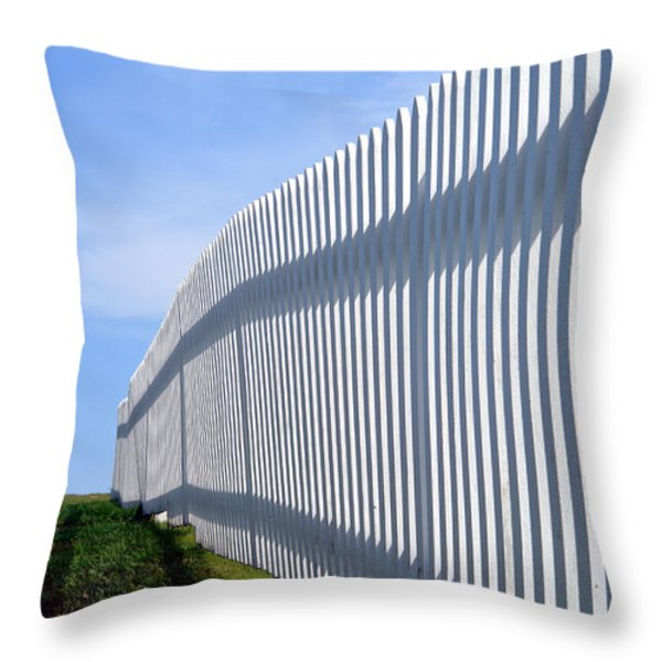 White Picket Fence Throw Pillow by Olivier Le Queinec
