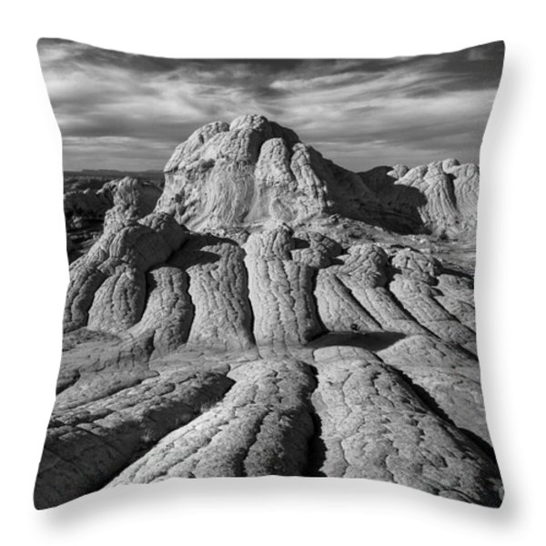 White Pocket Brain Rock Throw Pillow by Jerry Fornarotto