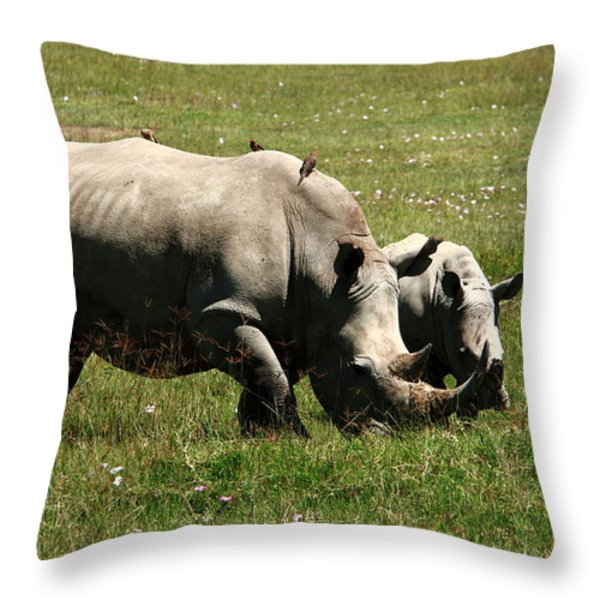 White Rhinoceros Throw Pillow by Aidan Moran