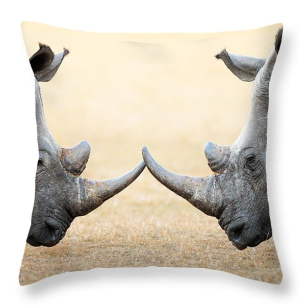 White Rhinoceros  head to head Throw Pillow by Johan Swanepoel