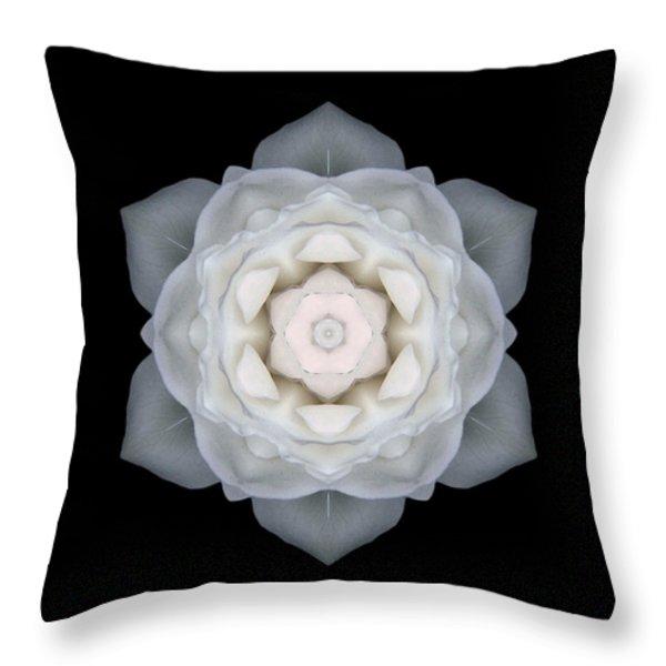 White Rose I Flower Mandala Throw Pillow by David J Bookbinder