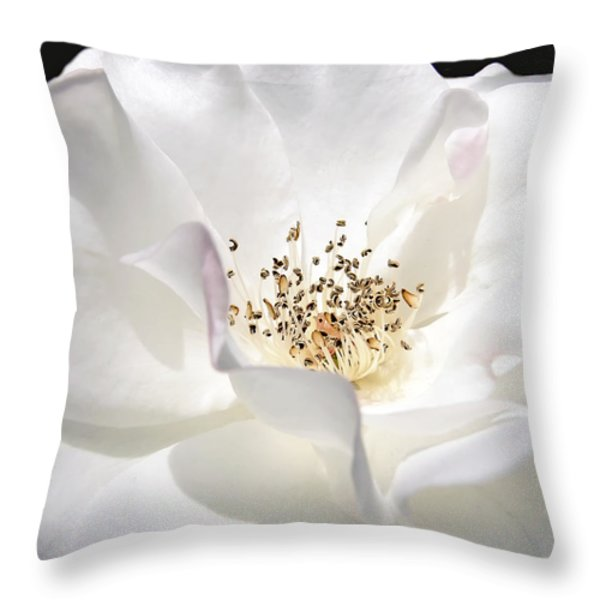 White Rose Petals Throw Pillow by Jennie Marie Schell