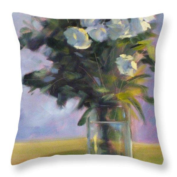 White Roses Throw Pillow by Nancy Merkle