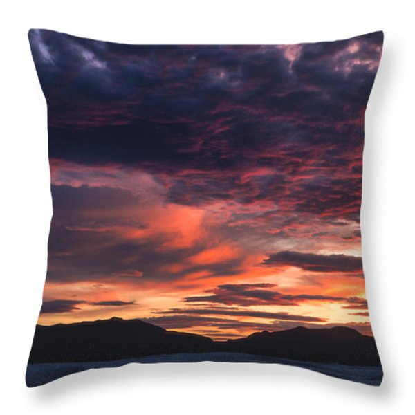 White Sands Sunset Throw Pillow by Sandra Bronstein
