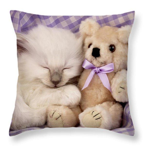 White Sleeping Cat Throw Pillow by Greg Cuddiford