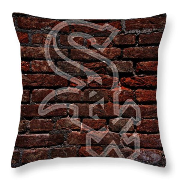 White Sox Baseball Graffiti on Brick  Throw Pillow by Movie Poster Prints