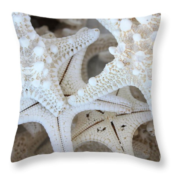 White Starfish Throw Pillow by Carol Groenen