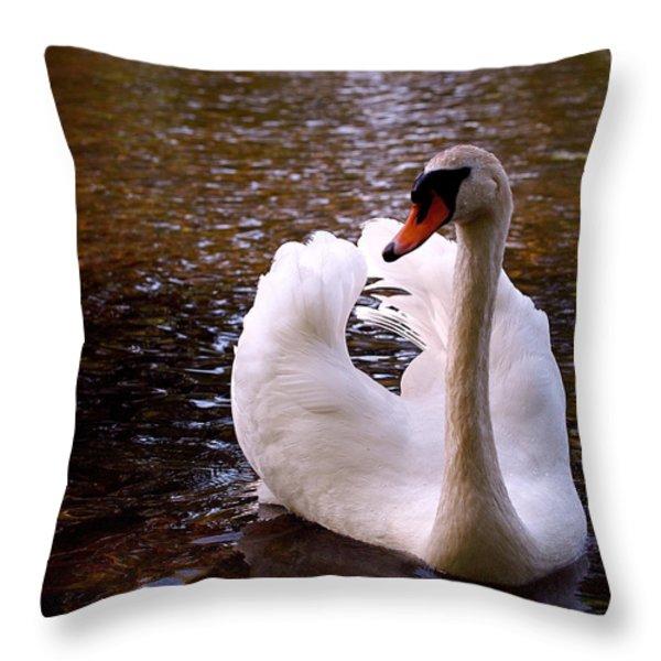 White Swan Throw Pillow by Rona Black