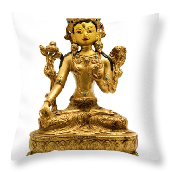 White Tara Throw Pillow by Fabrizio Troiani