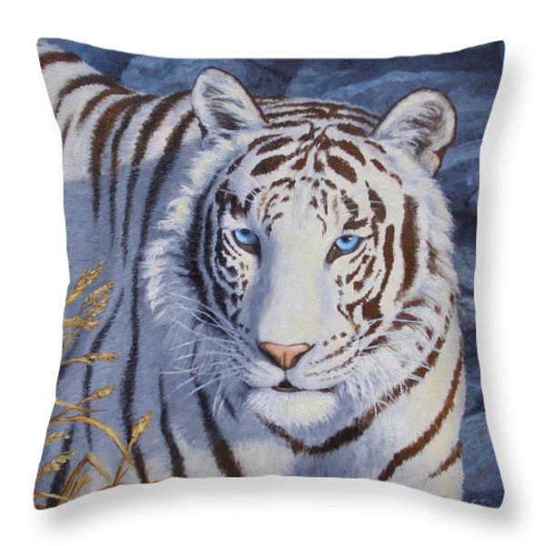 White Tiger - Crystal Eyes Throw Pillow by Crista Forest