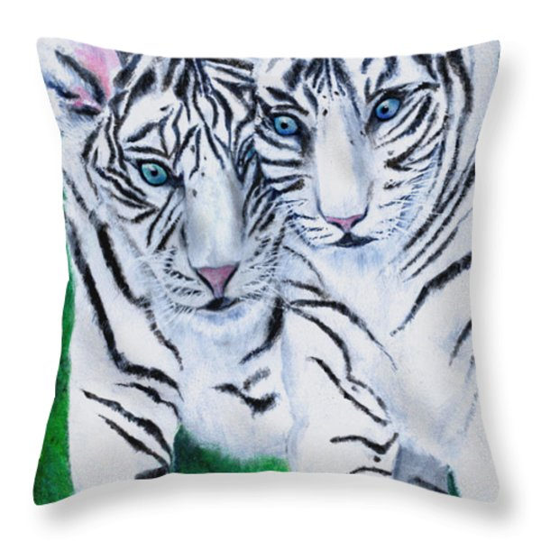 White Tiger Cubs Throw Pillow by Bette Orr