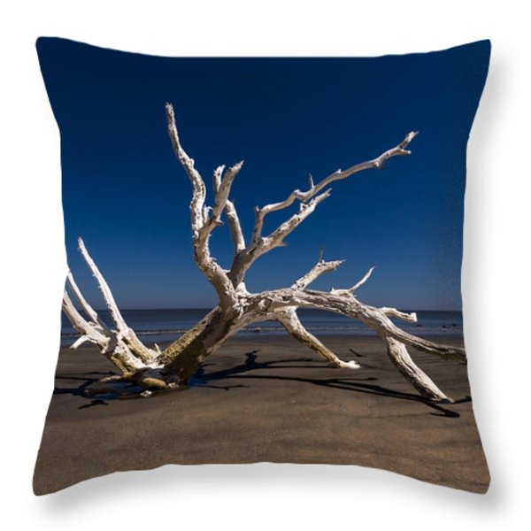 White Tree Throw Pillow by Debra and Dave Vanderlaan