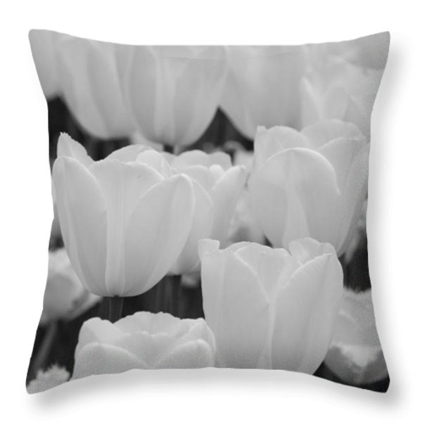 white tulips b/w Throw Pillow by Jennifer Lyon