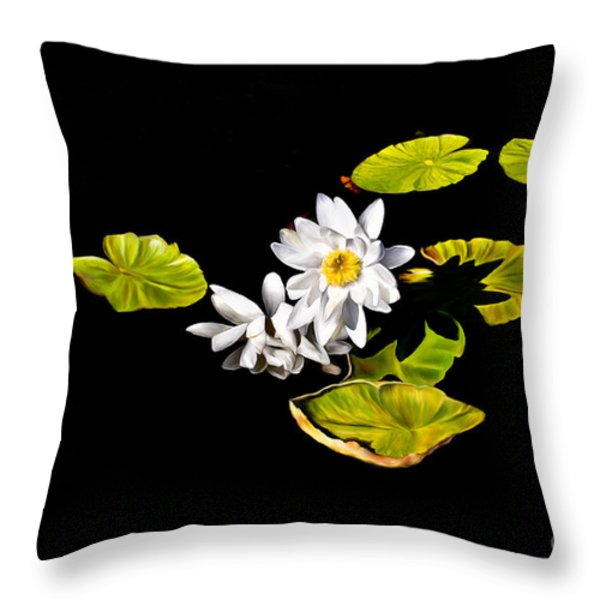 White Water Lilies Throw Pillow by Frances Hattier