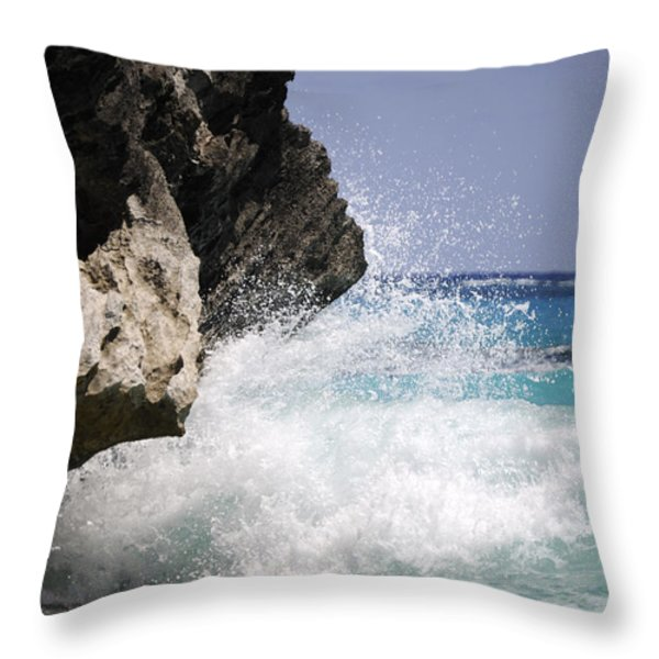 White Water Paradise Throw Pillow by Luke Moore