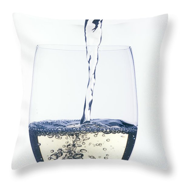 White wine pouring Throw Pillow by Garry Gay