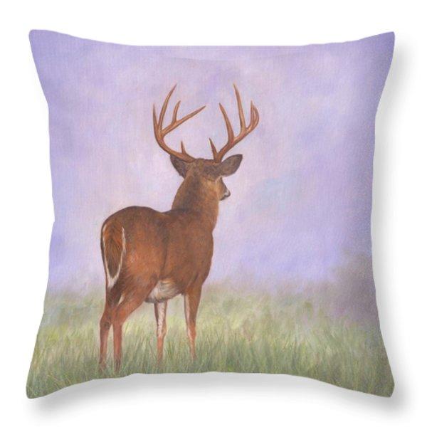 Whitetail Throw Pillow by David Stribbling
