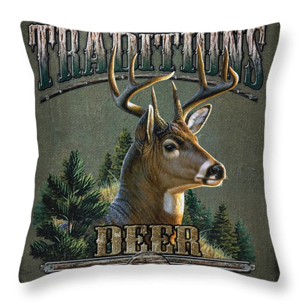 Whitetail deer Traditions Throw Pillow by JQ Licensing