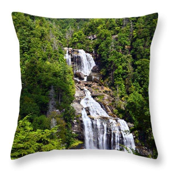 Whitewater Falls Throw Pillow by Susan Leggett
