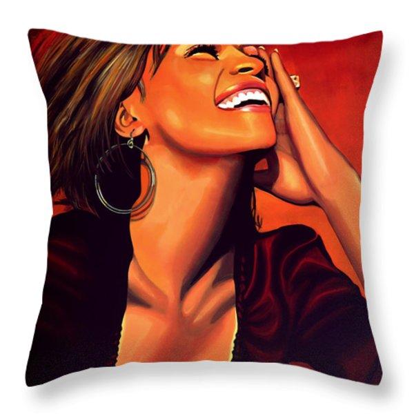 Whitney Houston Throw Pillow by Paul Meijering