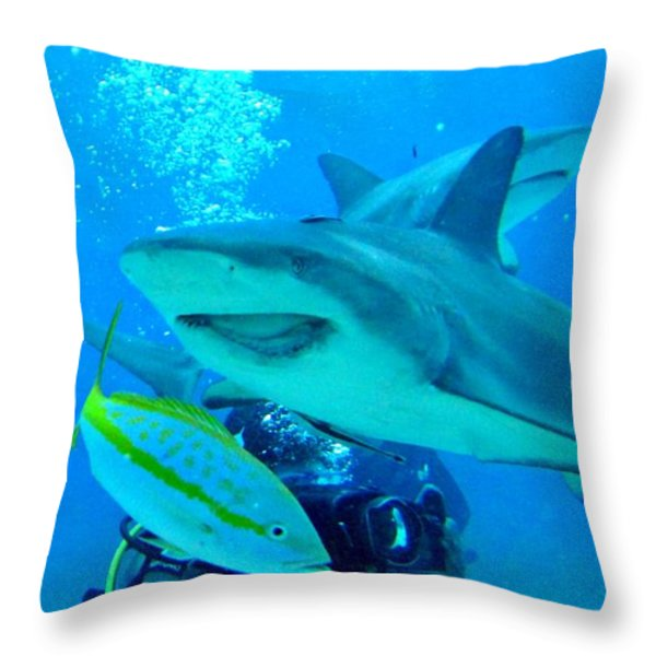 Who Said Sharks Were Mean Throw Pillow by John Malone