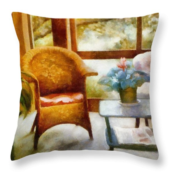 Wicker Chair and Cyclamen Throw Pillow by Michelle Calkins