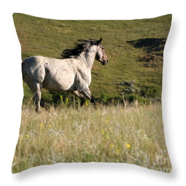 Wild Appaloosa Running away Throw Pillow by Sabrina L Ryan