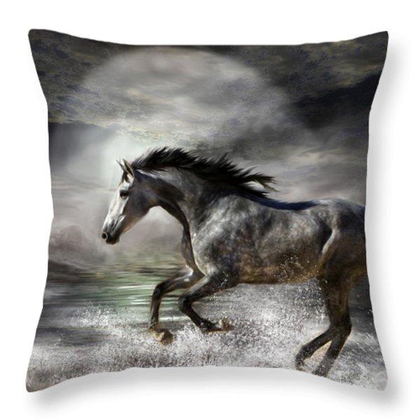 Wild As The Sea Throw Pillow by Carol Cavalaris