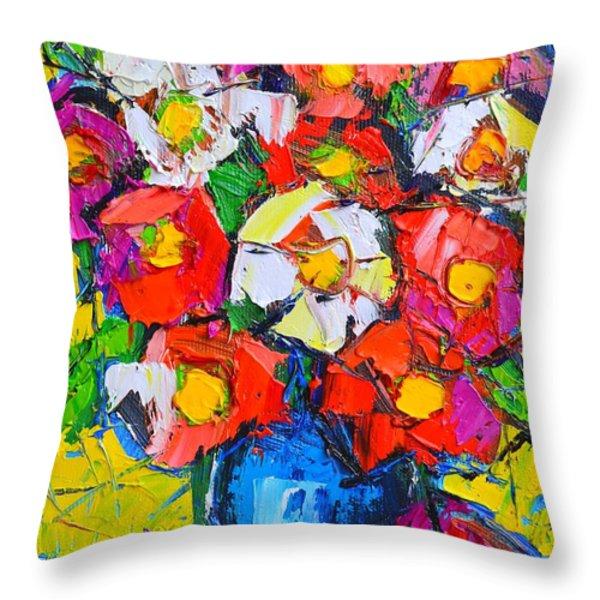 Wild Colorful Flowers Throw Pillow by Ana Maria Edulescu
