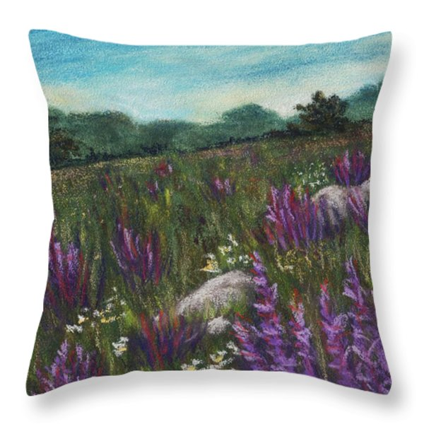 Wild Flower Field Throw Pillow by Anastasiya Malakhova