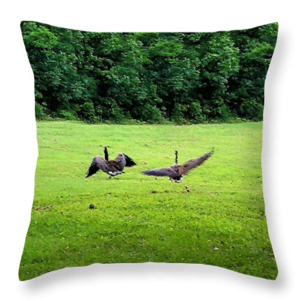Wild Goose Chase Throw Pillow by Kristin Elmquist