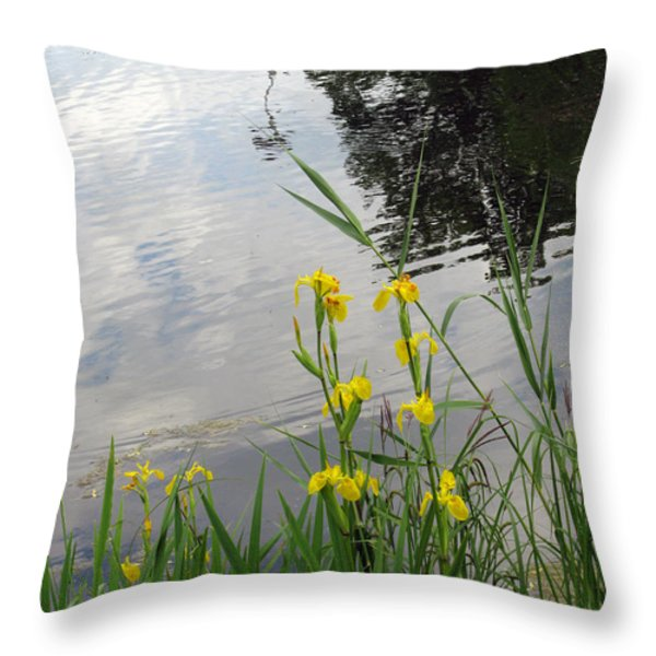 Wild Iris By The Pond Throw Pillow by Ausra Paulauskaite