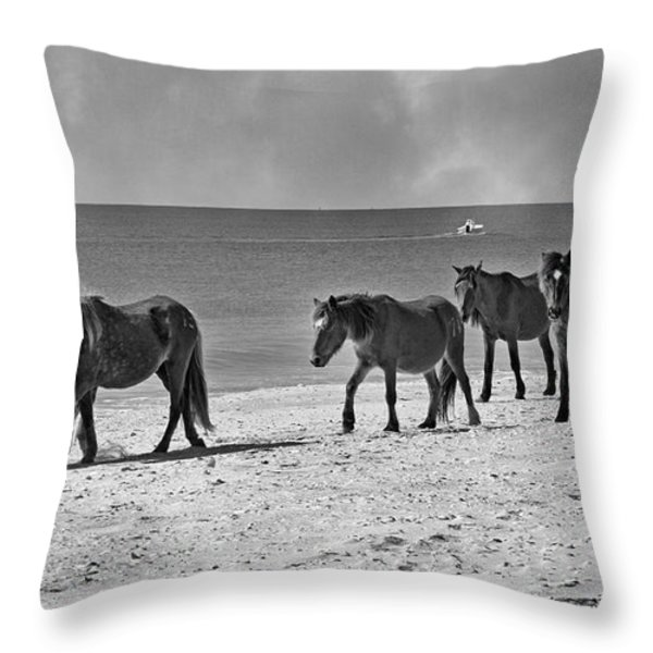 Wild Mustangs of Shackleford Throw Pillow by Betsy A  Cutler