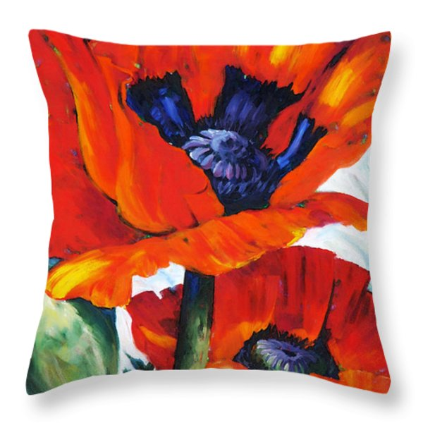 Wild Poppies - Floral Art By Betty Cummings Throw Pillow by Betty Cummings