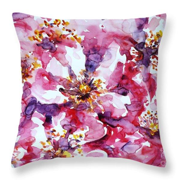 Wild Rose Throw Pillow by Zaira Dzhaubaeva