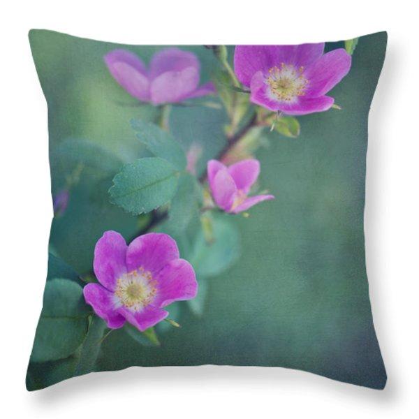 Wild Roses Throw Pillow by Priska Wettstein