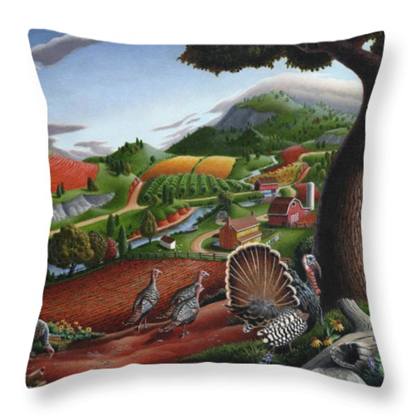 Wild Turkeys Appalachian Thanksgiving Landscape - Childhood Memories - Country Life - Americana Throw Pillow by Walt Curlee