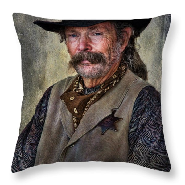 Wild West Cowboy Throw Pillow by Barbara Manis