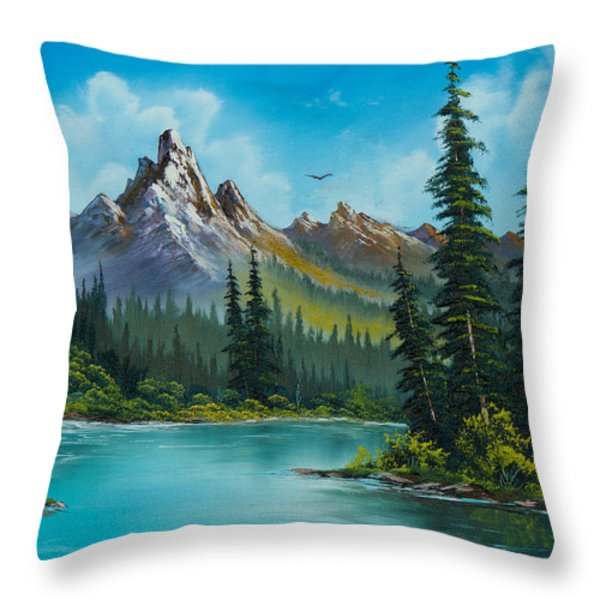 Wilderness Waterfall Throw Pillow by C Steele