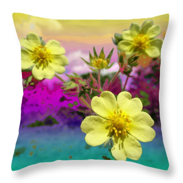 Wildflower Abstract Throw Pillow by Mike Breau