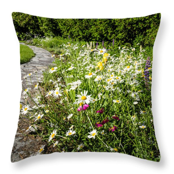 Wildflower Garden And Path To Gazebo Throw Pillow by Elena Elisseeva