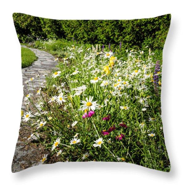 Wildflower garden and path to gazebo Throw Pillow by Elena Elisseeva