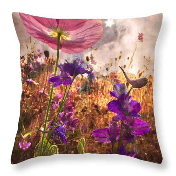 Wildflowers At Dawn Throw Pillow by Debra and Dave Vanderlaan