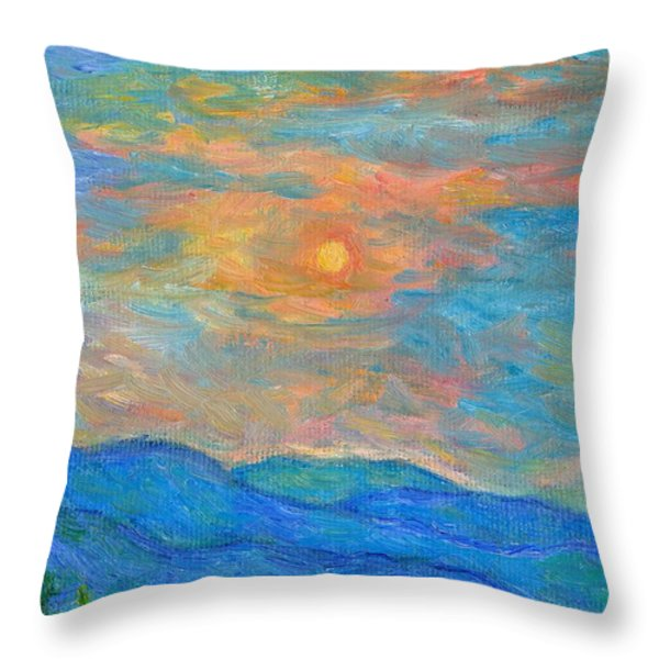 Wildflowers By A Blue Ridge Sunset Throw Pillow by Kendall Kessler