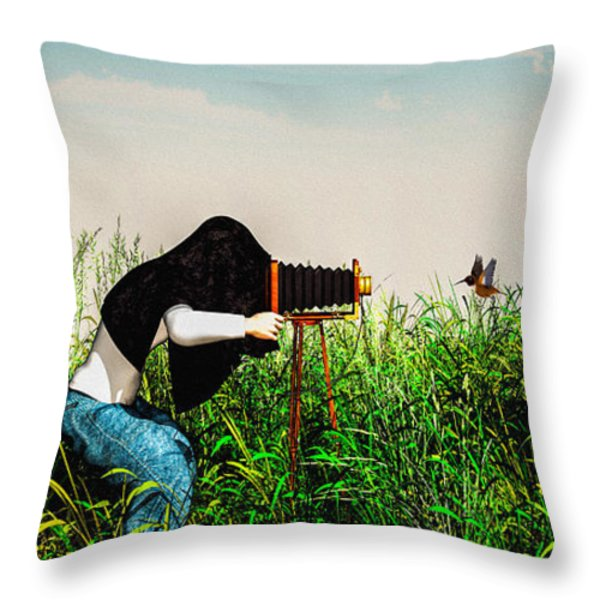 Wildlife Photographer  Throw Pillow by Bob Orsillo