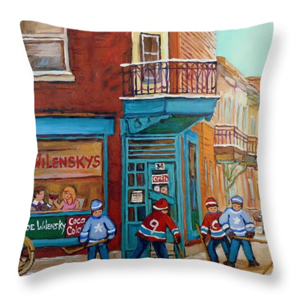 WILENSKY MONTREAL-FAIRMOUNT AND CLARK-MONTREAL CITY SCENE PAINTING Throw Pillow by CAROLE SPANDAU