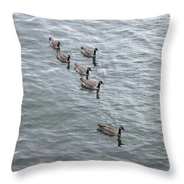 Willamette River Ducks Throw Pillow by Peter French