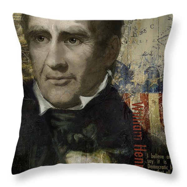William Henry Harrison Throw Pillow by Corporate Art Task Force