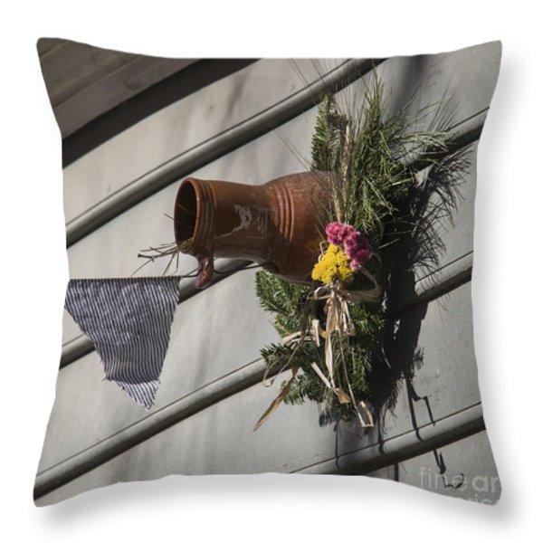 Williamsburg Bird Bottle 1 Throw Pillow by Teresa Mucha