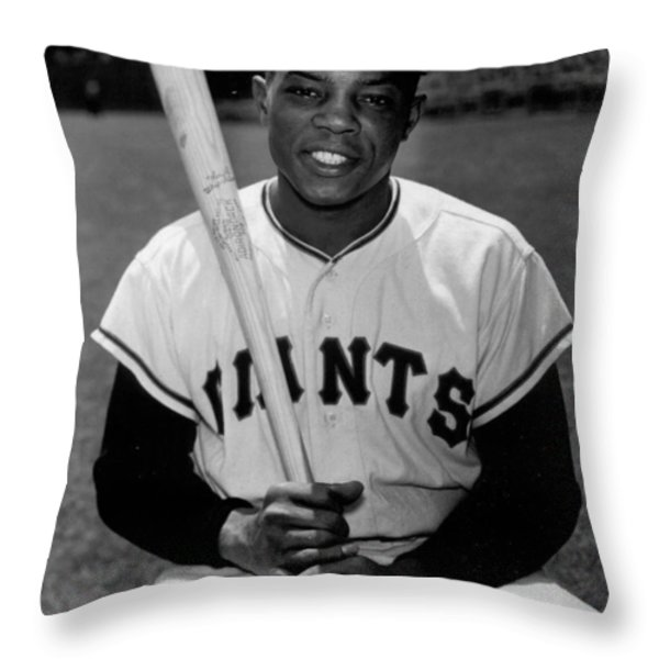 Willie Mays Throw Pillow by Gianfranco Weiss